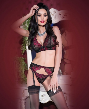 Chilirose lace set CR-4247 μαύρο - ροζ