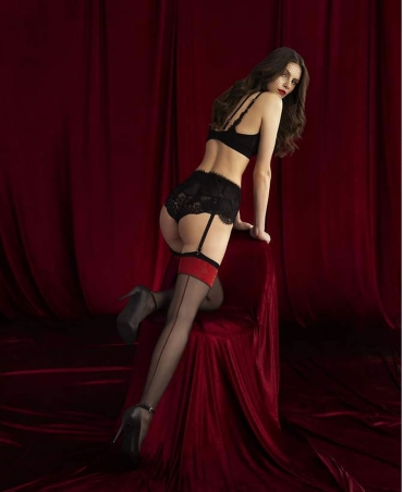 <p>Women's stockings to the waist from the Sensual collection. Back with decorative red seam. Matte, with invisible reinforcement on the fingers. Thickness 20 den.</p>