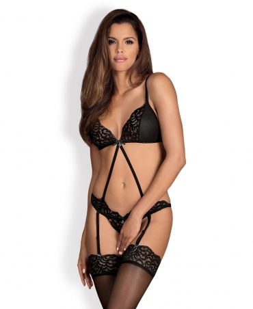 Obsessive Laluna crotchless teddy color: black