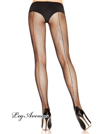Fishnet pantyhose with backseam.