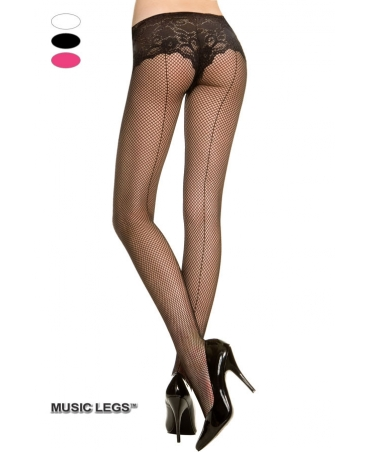 Fishnet backseam pantyhose.