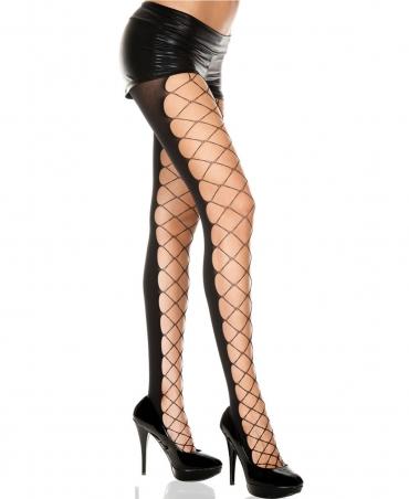 Music legs Diamond net and opaque panel pantyhose
