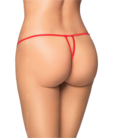Red lace thong with bow