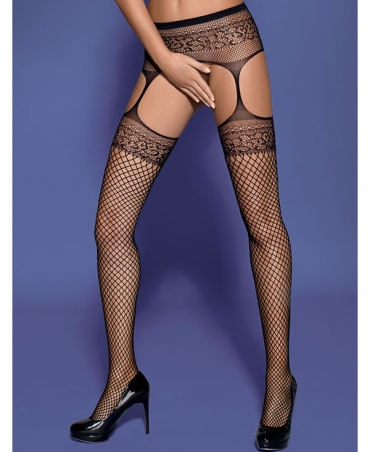 Spicy fishnet stockings combined with the garter belt.