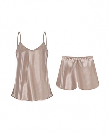 Satin like pyjama top and shorts