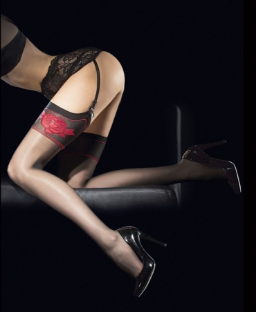 <p>Women's waist stockings from the Sensual collection. Top decorated with red flowers. Matt, with invisible reinforcement on the fingers. 20 den.</p>